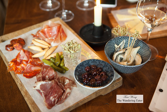 Charcuterie and boquerones to pair with our wines