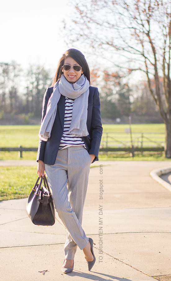 gray scarf, navy blazer, striped turtleneck, gray trousers, gray suede pumps