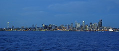 Twilight City Lights Panorama:  Seattle From West Seatttle