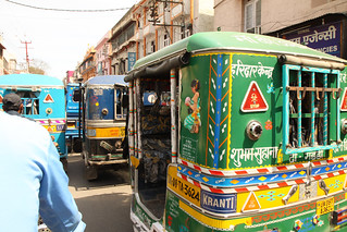 On a rickshaw in Haridwar