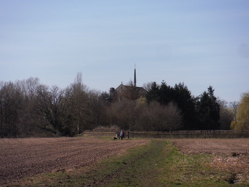 Top of Douai Abbey, from walk route