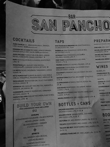 Bar San Pancho menu