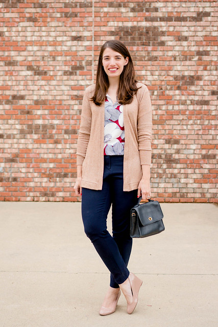 navy floral blouse + tan cardigan + Loft navy ankle pants + spring work outfit | Style On Target
