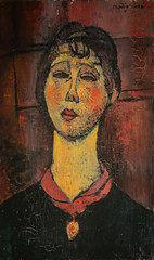 Amedeo Modigliani - Portrait of Mrs Dorival, 1916 (Kunstmuseum Basel Switzerland) at Gauguin-to-Picasso Exhibit - Philllips Collection Washington DC