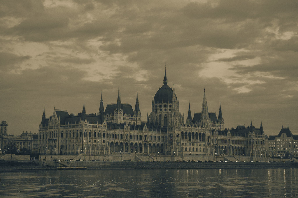 Budapest Parliament black and white
