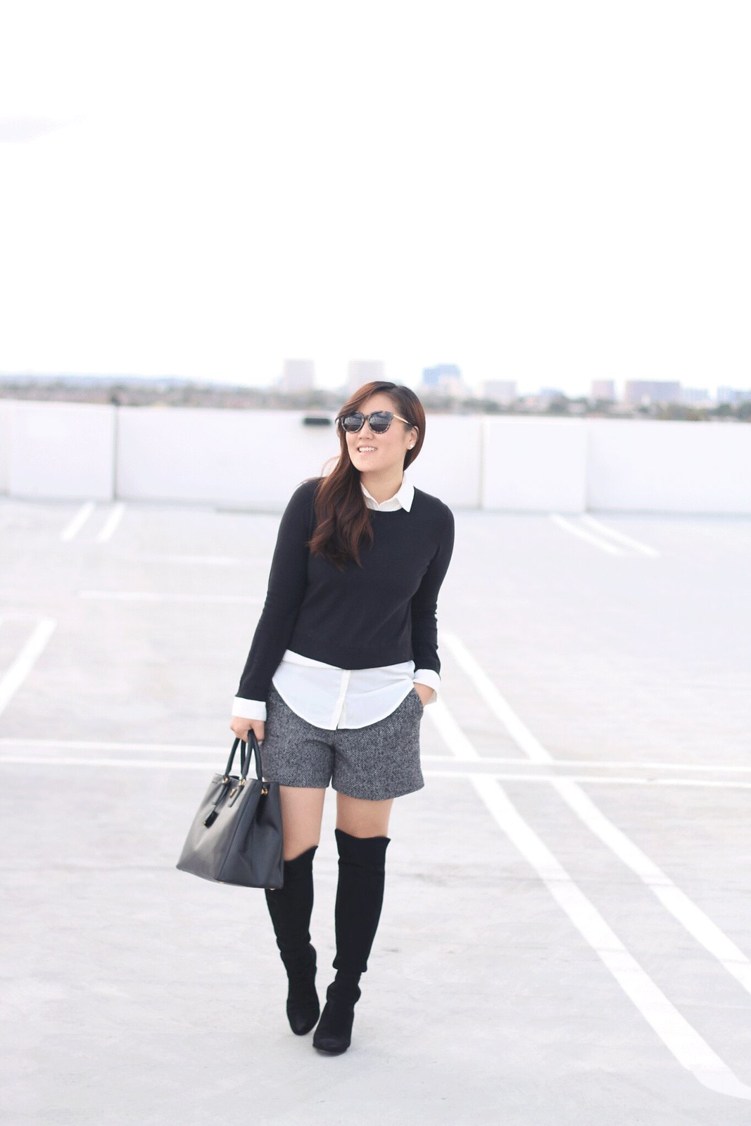 simplyxclassic, style, mom blogger, fashion, orange county, lifestyle, blog, loft, gap, over the knee boots, winter shorts, fall outfit, winter outfit, layered look, black and white, gentle monster