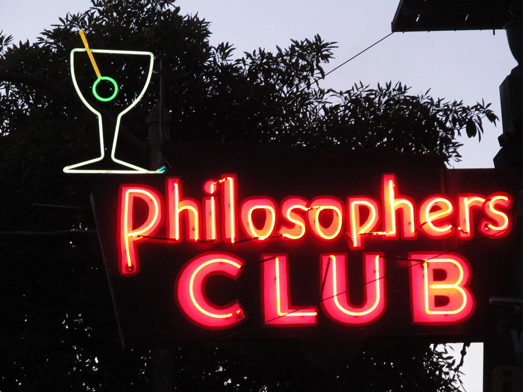Philosophers Club neon sign