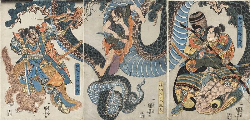 Utagawa Kuniyoshi - Yegara Heita Tanenaga Cuts his Way Out of a Giant Python, 19th C