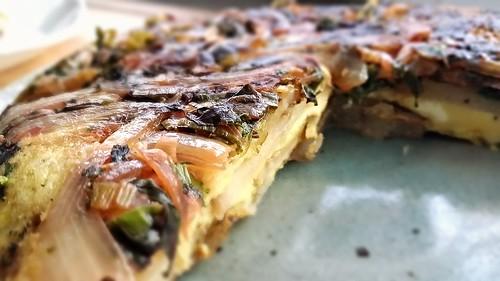 Tortilla de patatas: swiss chard, mustard greens, and kale