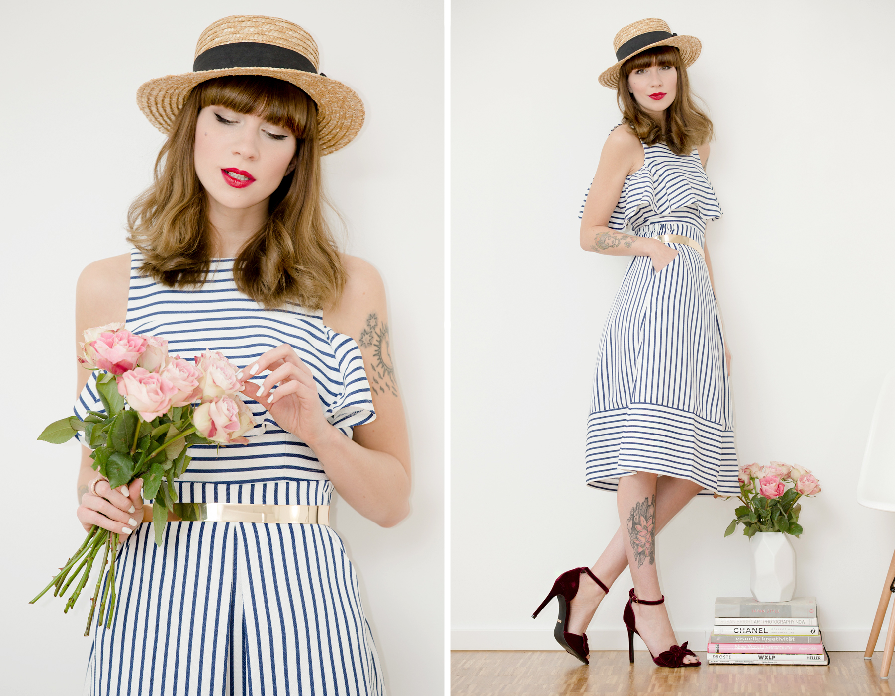 shopbop striped outfit styling topshop roses valentines day valentinstag hut 50s 60s cute girly girl bangs brunette red lips ootd outfit fashionblogger ricarda schernus cats & dogs blog 1
