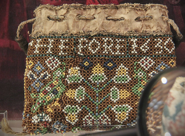 A beadwork purse with inscription 'Remember the Pore 1630', England, 1630