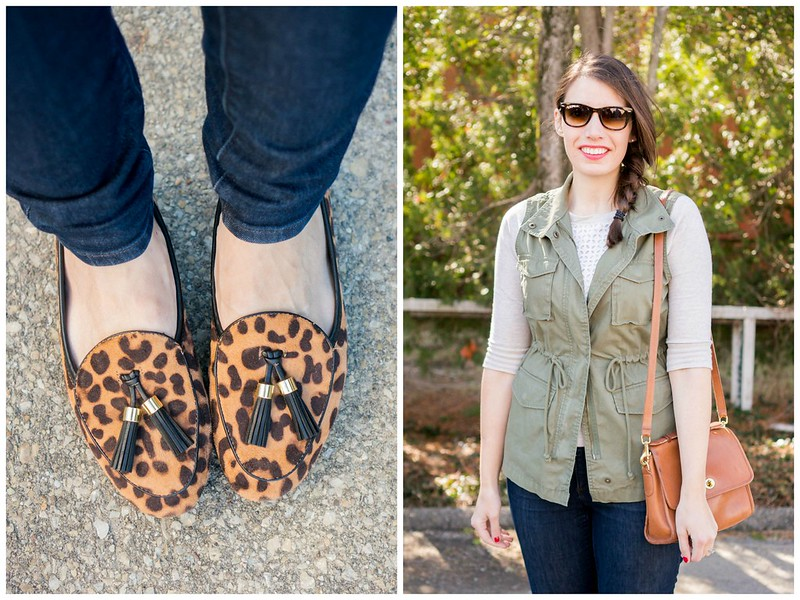 green utility vest + leopard print loafers + Ditto sunglass rental RayBans Style On Target