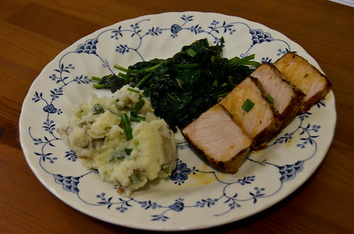 Roast Pork with Sautéed Spinach & Olive Smashed Potatoes