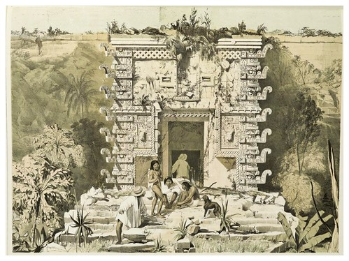 005-Entrada al gran Teocallis en Uxmal-Views of ancient monuments in Central America…1844- F. Catherwood