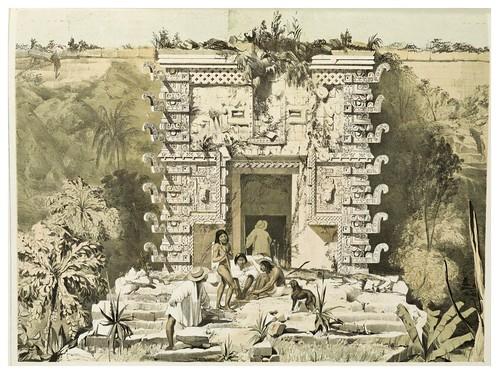 005-Entrada al gran Teocallis en Uxmal-Views of ancient monuments in Central America…1844- F. Catherwood