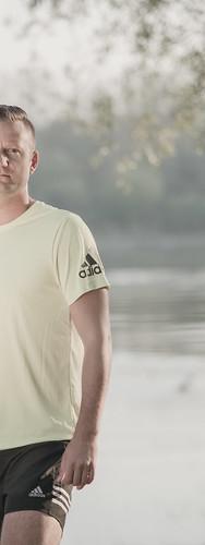summer portrait man black men sport shirt sunrise pose stand lemon personal stripes tshirt running run half jersey shorts adidas athlete runner chill trainer desaturate