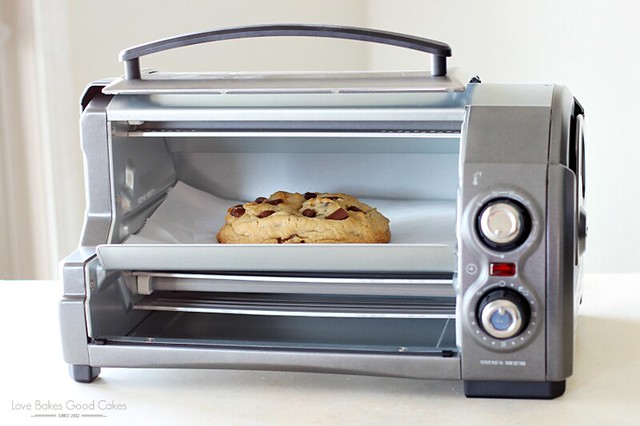 Giant Peanut Butter Cookie with Chocolate Chunks in a portable oven.