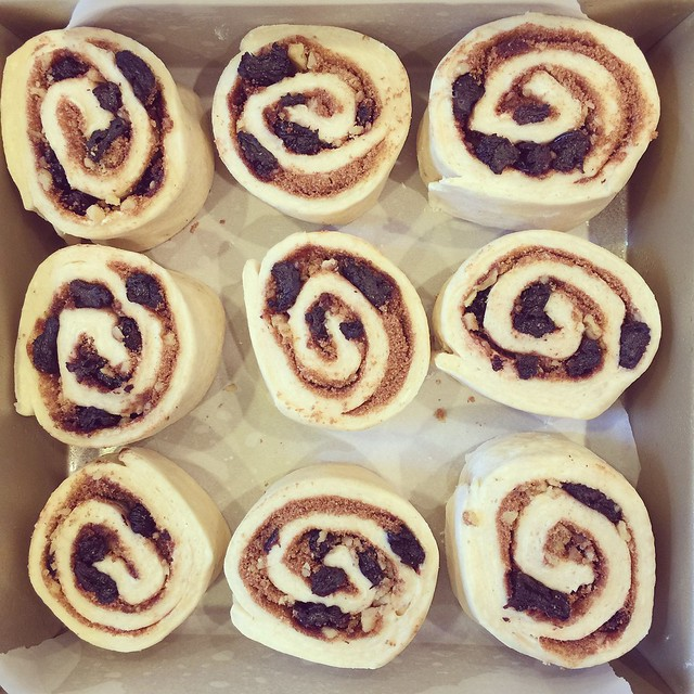 Cinnamon rolls before they go in the oven.