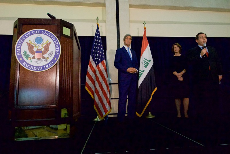 U.S. Ambassador Jones Introduces Secretary Kerry to Address the Staff and Family Members at the U.S. Embassy in Baghdad, Iraq