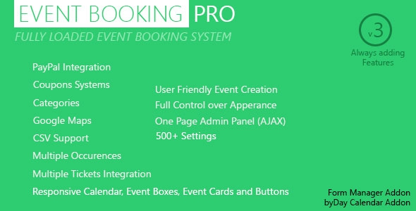 Event Booking Pro v3.51 – WP Plugin [paypal or offline]
