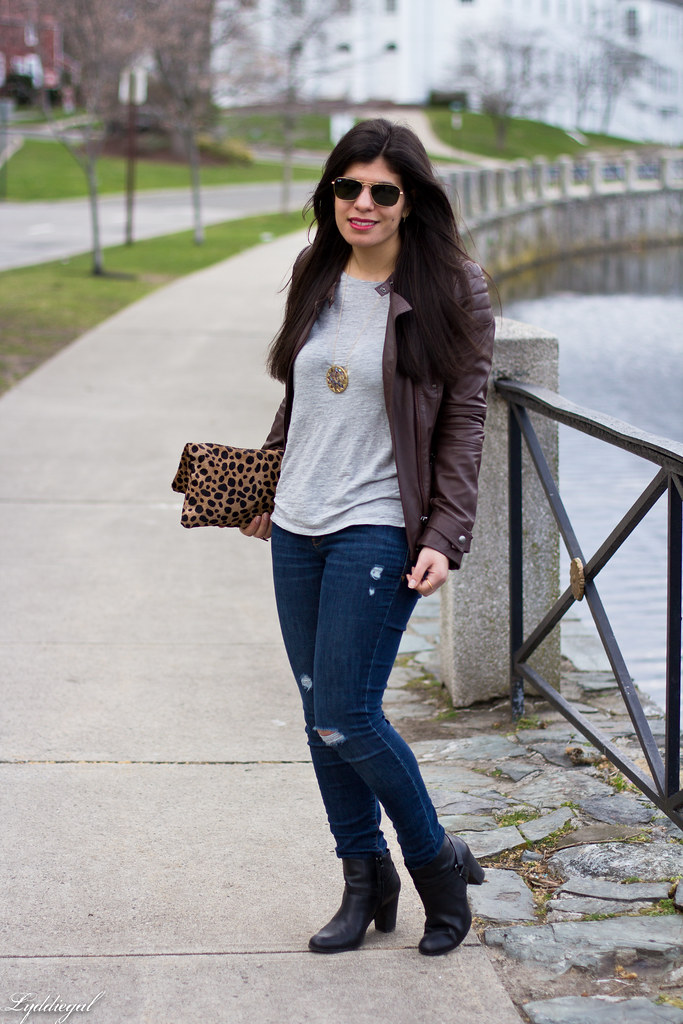 grey tee, brown leather jacket, leopard clutch-2.jpg