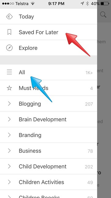 Feedly mobile view options