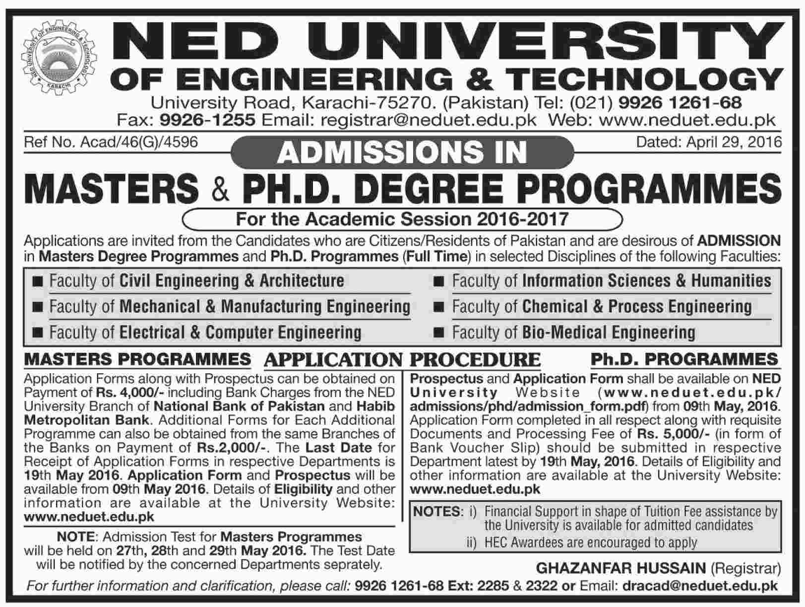 NED University of Engineering and Technology Jobs 2016