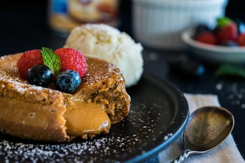 3-ingredient molten dulce de leche cake