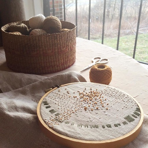 Day 11: French knots the color of last year's leaves in sharp morning light