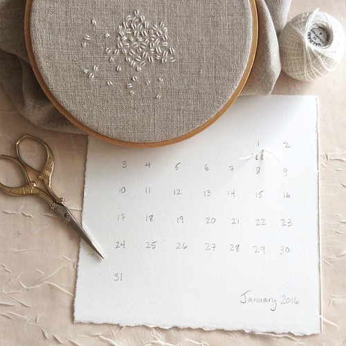 Day 1: seed stitch. White, for snow. Seeds of hope and new beginnings.