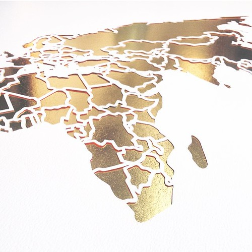 Papercut World Map - Detail