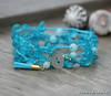 Peacock Blue 'Sea Glass' Pebbles Crocheted Bracelet