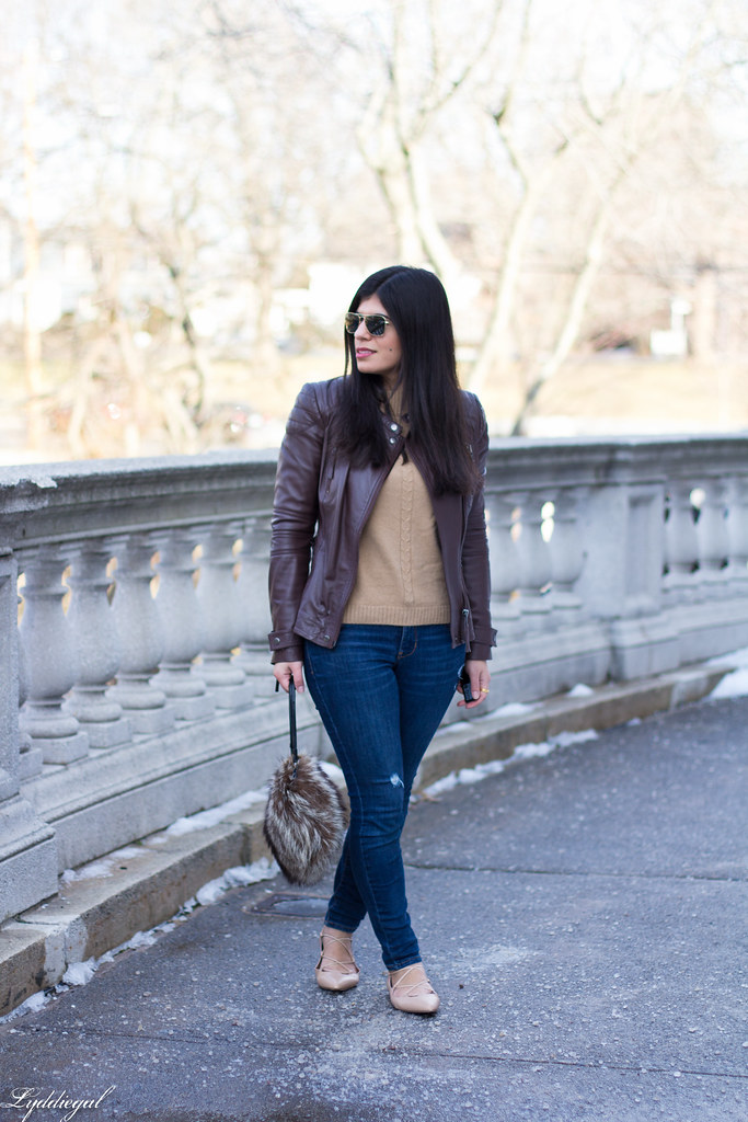brown leather jacket, tan sweater, nude laceup flats-1.jpg