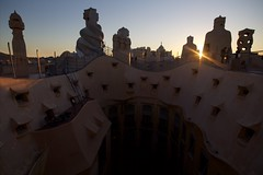 Sunset on the Rooftop, La Pedrera, Barcelona