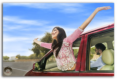Beautiful Indian young girl expressing freedom with her arms outstretched!