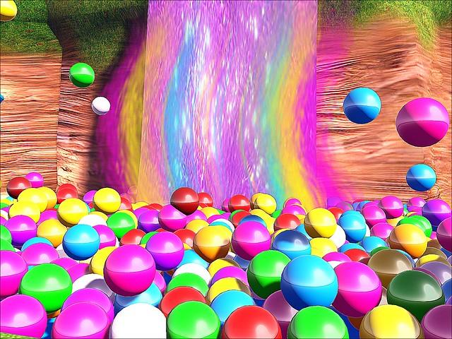 Valentine Town - Gumballs & Skittles Waterfall