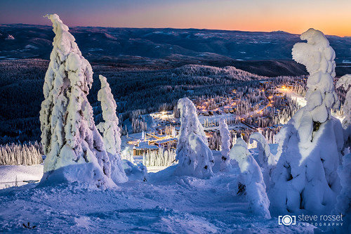 trees winter sunset mountain snow canada ski cold landscape twilight skiing village bc view okanagan frosty resort alpine icy vernon silverstar snowghosts silverstarmountain