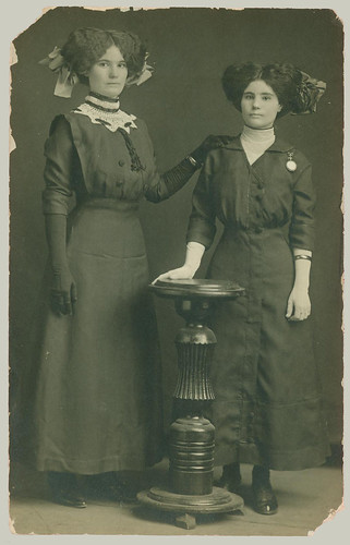 RPPC of two women and hats