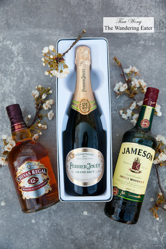 Perrier-Jouët Champagne Brut Champagne, Chivas Regal 12-Year, Jameson Irish Whiskey