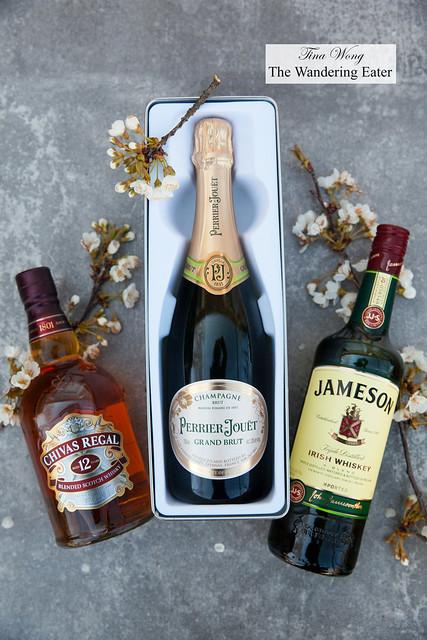 Perrier-Jouët Champagne Brut Champagne, Chivas Regal 12-Year, Jameson Irish Whiskey