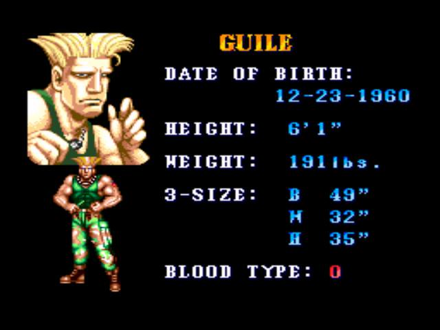 Guile in Street Fighter II