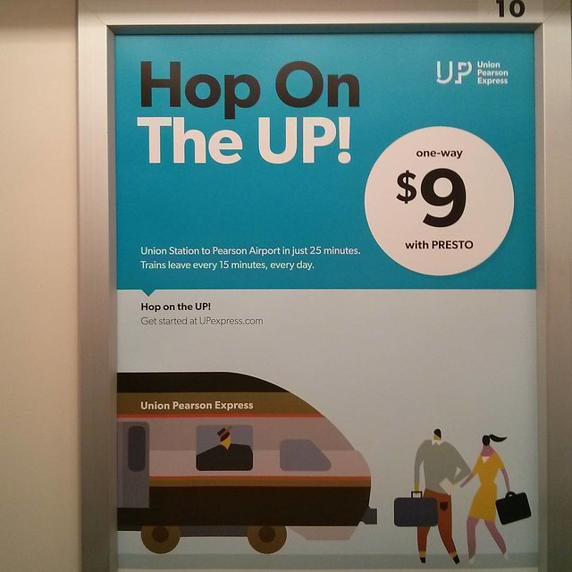 """Hop On The UP!"" #toronto #unionpearsonexpress #ttc #subway #ad #masstransit #rail"