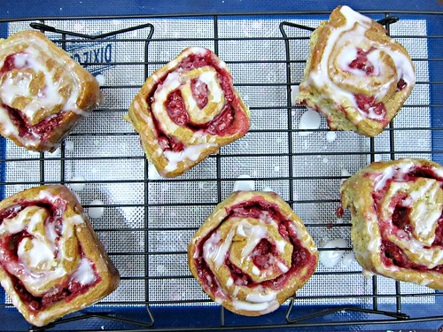 Raspberry Lemon Sticky Buns with Lemon Glaze