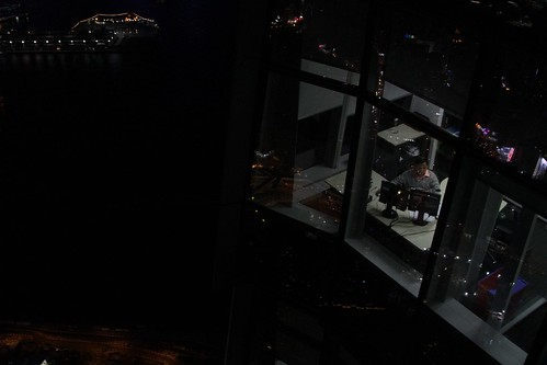 Working late on the 99th floor of the  International Commerce Centre
