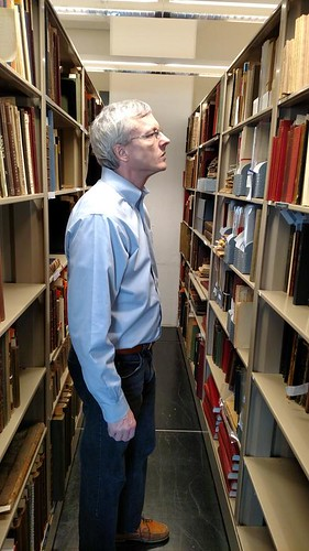 Len Augsburger ANS Rare Book Room stacks