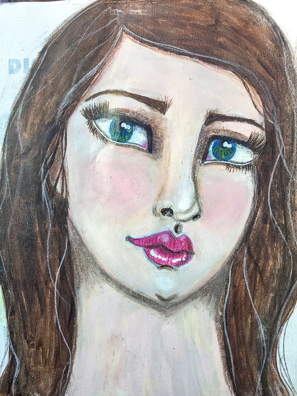 Mixed media girl in art journal3