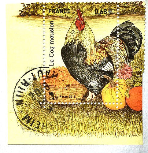 France stamp - Le coq meusien