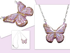 polymer clay Opalescent Butterfly Necklace
