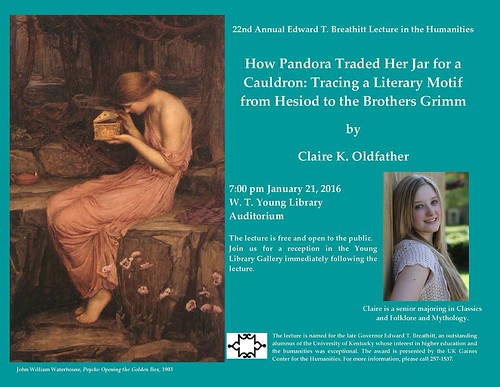 Congrats to classics & folklore and mythology senior Claire K. Oldfather, who has been selected to present this year's Breathitt Lecture in the Humanities presented by the Gaines Center. Claire will present her lecture on the Pandora motif and how wom