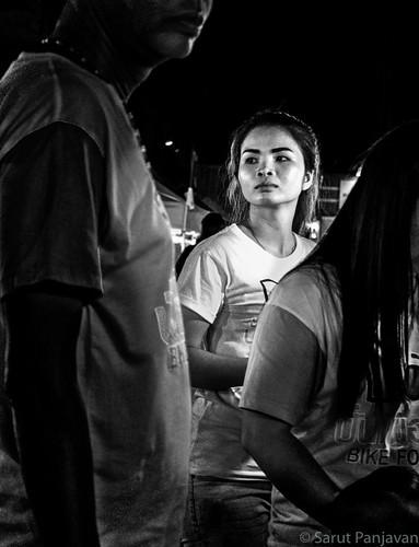 street travel people blackandwhite bw woman monochrome face female night thailand grey mono candid sony thai trang rx100